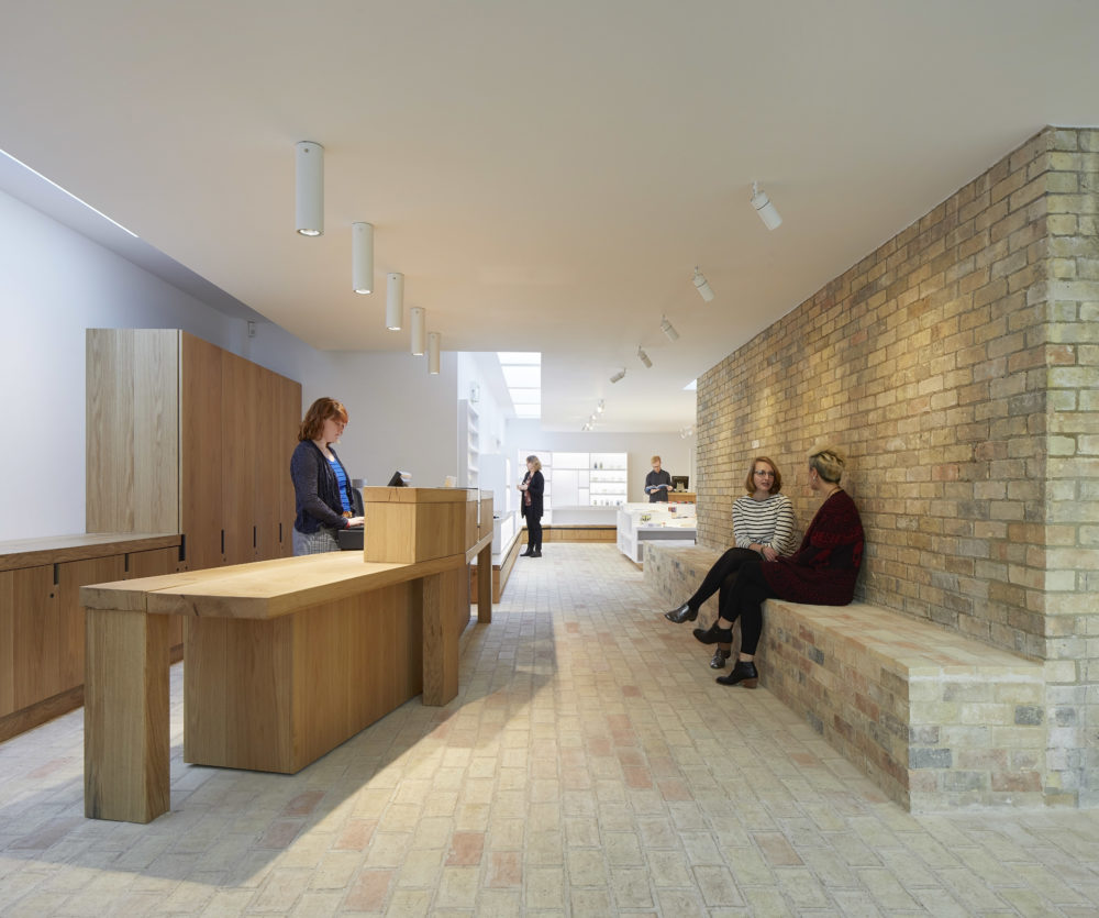 Photo showing the entrance area and information desk at Kettle's Yard,