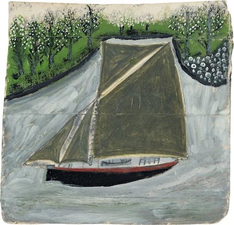 Alfred Wallis, Sailing ship and orchard, 1935-37 (circa)